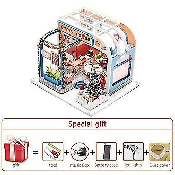 Neue Diy Puppenhaus Kit Holz kleines Haus Miniatur Gebäude für Erwachsene Backkuchen Zimmer Kinder Spielzeug Puppe
