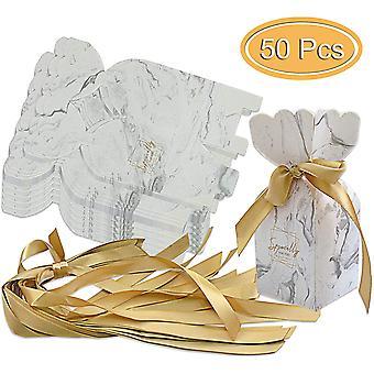 50 Stück Geschenktaschen Hochzeit Geburtstag Party Candy Box Ribbon Dekoration