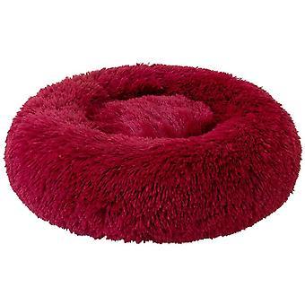 Rauhoittava koiran sänky pörröinen muhkea kissan sänky, pestävä pyöreä turkis donitsi lemmikki sänky