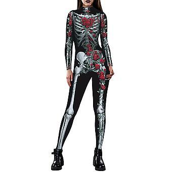 Halloween Naiset Slim Spiderman Skeleton Jumpsuit Cosplay Puku Naamiaispuku