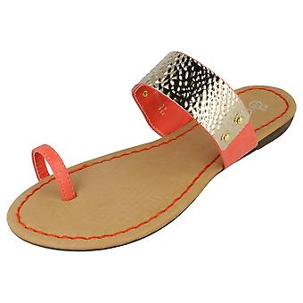 Damer plats på låg Wedge Toe Loop sandaler 'F0636'