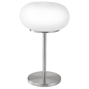 Eglo Optica 2 Light Modern Table Lamp Opal And Nickle Matt Finis