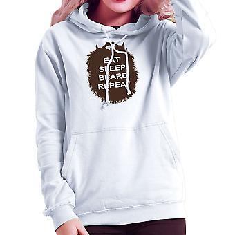The Beard Collection Eat Sleep Beard Repeat Women's Hooded Sweatshirt
