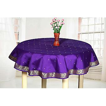 Purple - Handmade Sari Tablecloth (India) - Round