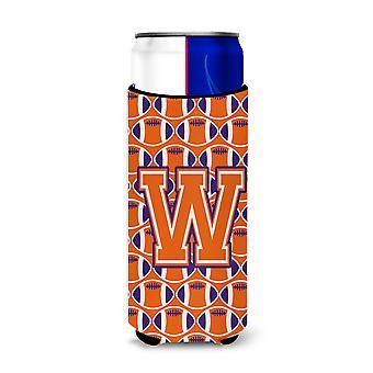 Letter W Football Orange, White and Regalia Ultra Beverage Insulators for slim c