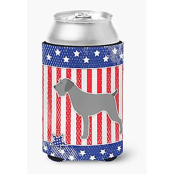 USA Patriotic German Wirehaired Pointer Can or Bottle Hugger