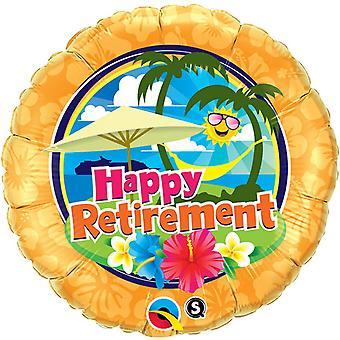 Qualatex 18 tums runda lycklig pensionstid Holiday Design folie ballong