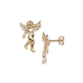 14k Sárga Arany Vallási Guardian Angel Bélyegzés a fiúk vagy lányok fülbevaló intézkedések 15x10mm
