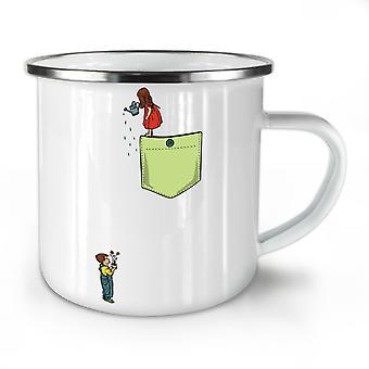 Watering Plant NEW WhiteTea Coffee Enamel Mug10 oz | Wellcoda