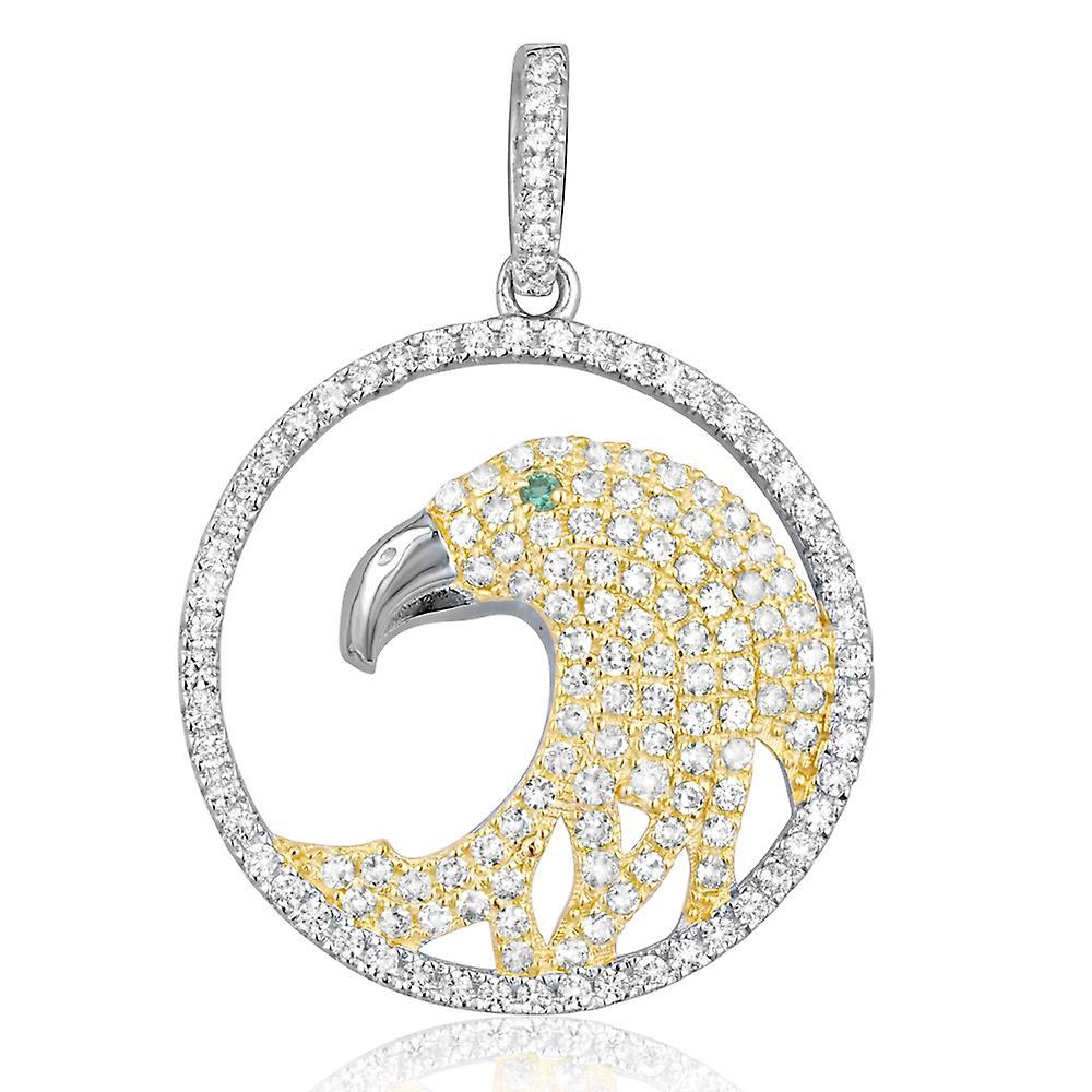 Pendentif Aigle Doré en Argent orné de 147 Cristal Swarovski Zirconia Blanc