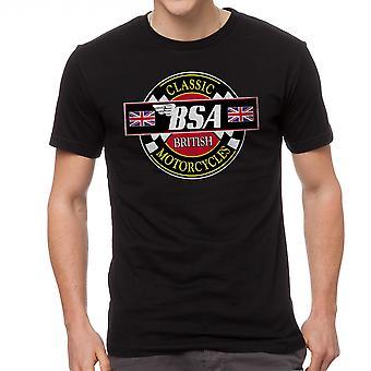 BSA klassiset moottoripyörät miesten musta t-paita