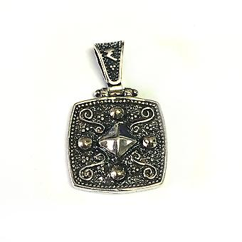 Oxideret Sterling sølv byzantinske stil firkantet vedhæng