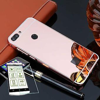Mirror / spiegel aluminium bumper 2-delig roze + 0.3 mm H9 getemperd glas voor Huawei P slimme