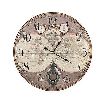 古い世界地図 23 インチ直径振り子壁掛け時計