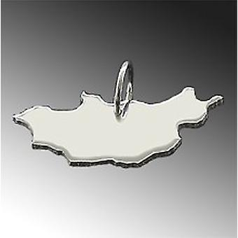 Trailer map Mongolia pendant in solid 925 Silver