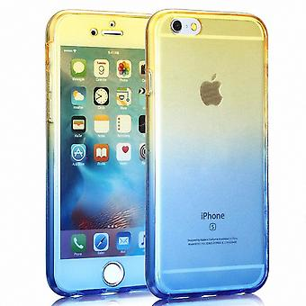 Crystal Case cover for Apple iPhone 5 / 5 s / SE gul blå ramme hele kroppen
