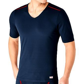 Sloggi miesten liikkua Flex suorituskyky kaula t-paita-Deep Sea Blue