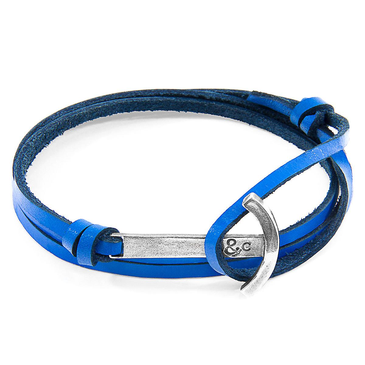 Anchor & Crew Royal Blue Clipper Anchor Silver and Flat Leather Bracelet
