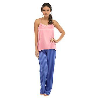 Damer Wolf & Harte Strappy Top og bukser sommer stribe Satin pyjamas nattøj