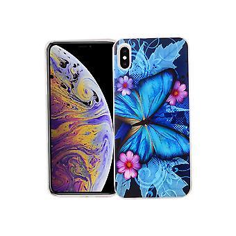 Apple iPhone mobiltelefon fall Skyddsfodral täcker stötfångaren XS Max Butterfly blå