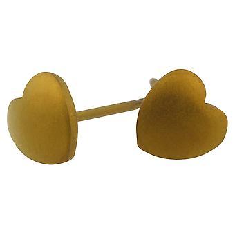 Ti2 Titanium Geometric Heart Stud Earrings - Tan Beige