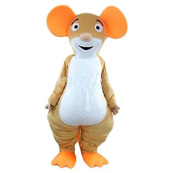 mascot SPOTSOUND of Brown, orange and white mouse