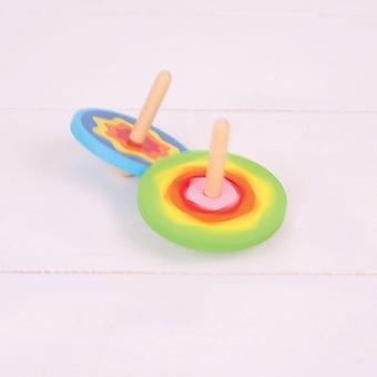 Bigjigs Toys Wooden Snazzy Spinning Tops (4) Traditional Gift, Stocking Filler