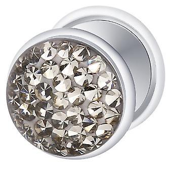 Falso traidor Ear Plug prata chapeado, brinco, joias de corpo, com Multi cristal Black Diamond