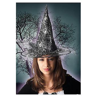 Halloween og horror sølv witch hat med spider web print