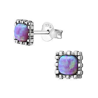 Square - 925 Sterling Silver Opal and Semi Precious Ear Studs - W23679X