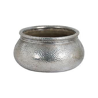 Hill Interiors Metallic Ceramic Round Wide Necked Planter