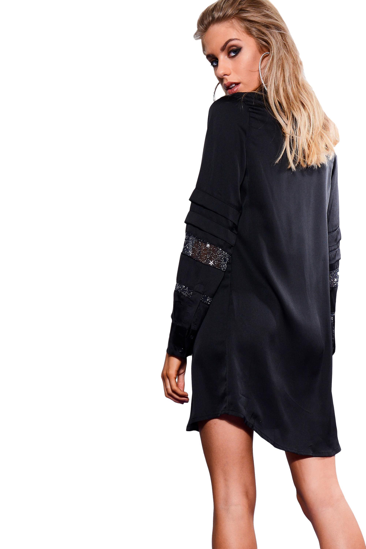 Lovemystyle Black Shirt Dress With Black Star Band