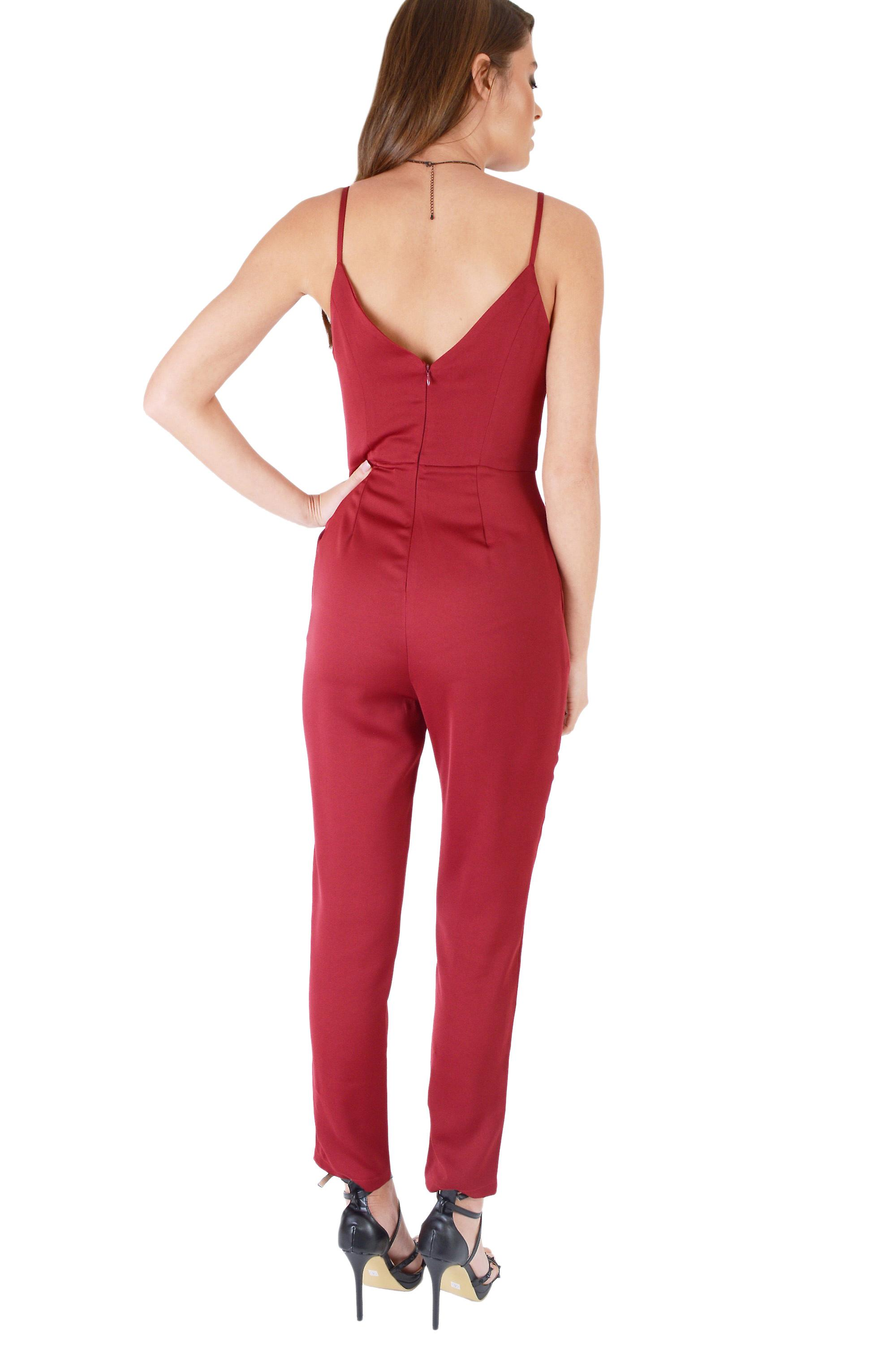 WYLDR Red Jumpsuit With Front Bow And V Back