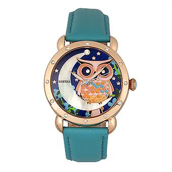 Bertha Ashley MOP cuir bande Ladies Watch - Rose Gold/Turquoise
