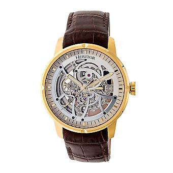 Heritor Automatic Ryder Skeleton Leather-Band Watch - Brown/Gold
