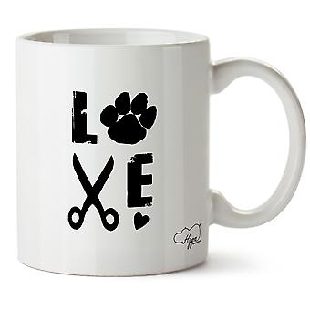 Hippowarehouse Love Dog Grooming Printed Mug Cup Ceramic 10oz