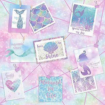 Zeemeermin Wallpaper Collage foto's Love Hearts Shells schalen Glitter Holden