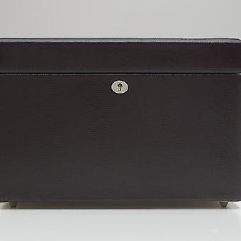 Wolf Designs London Cocoa Lizard Embossed Leather Medium Jewellery Box