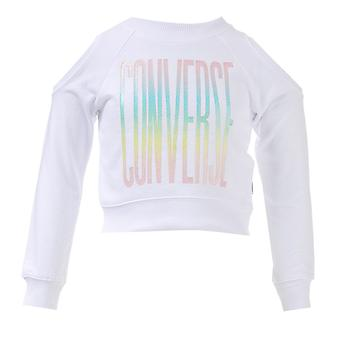 Infant Girls Converse Cold Shoulder Cropped Crew Sweat In White- Cut Out