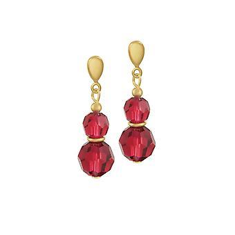 Eeuwige collectie Echo Scarlet Red Oostenrijkse Crystal Gold Tone Drop doorboord oorbellen