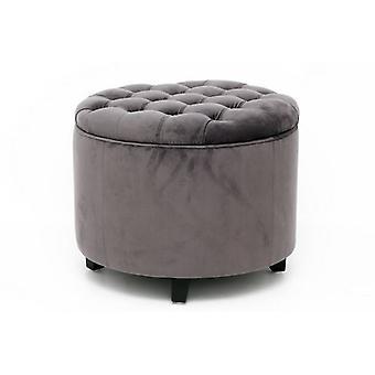 Tabouret de rangement velvey gris 50x50 élégant bon espace