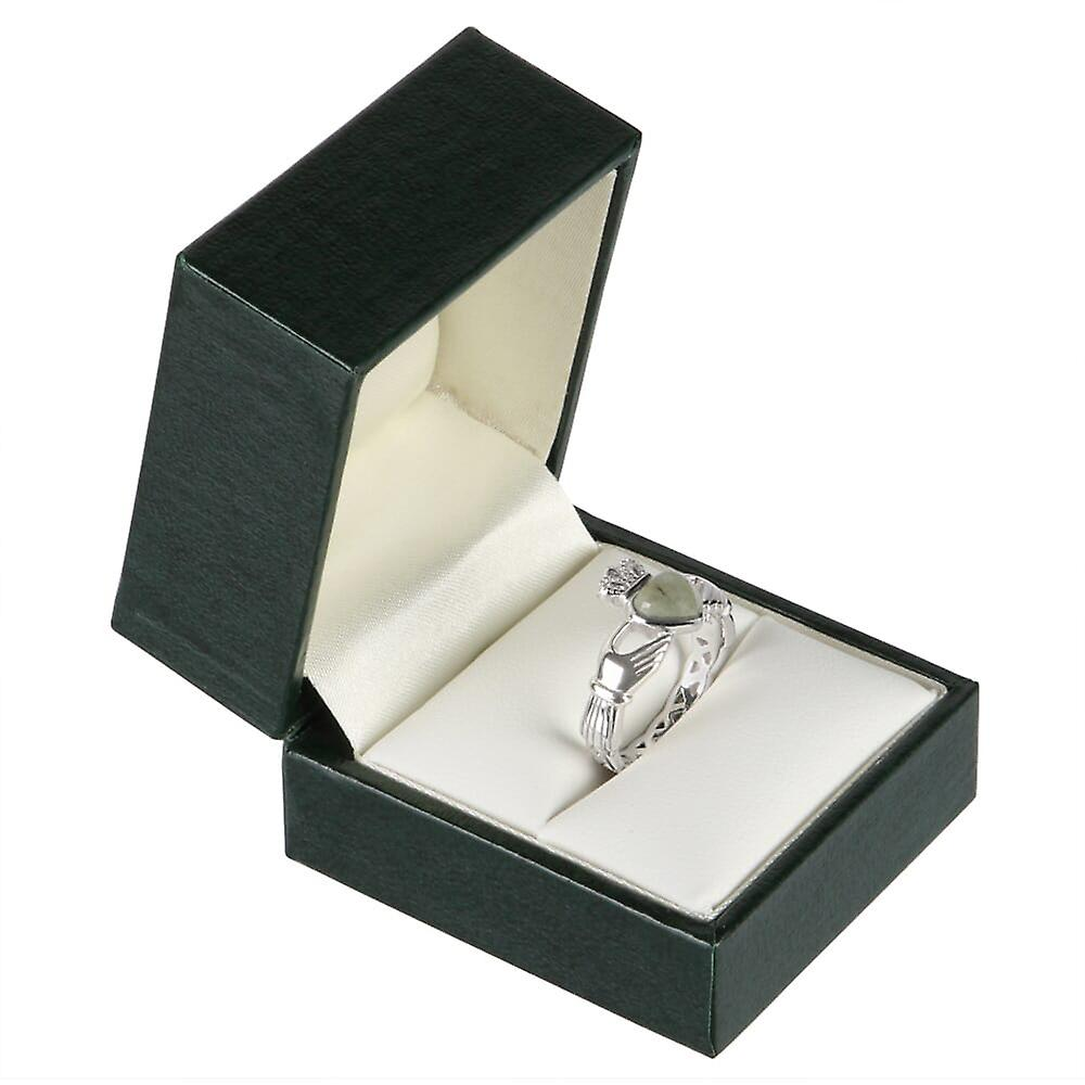 Sterling Silver Connemara Marble Claddagh Ring