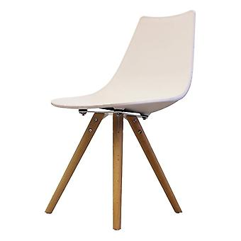Fusion Living Iconic White Plastic Dining Chair With Light Wood Legs