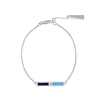 University Of Rhode Island Sterling Silver Diamond Bar Chain Bracelet In Blue and Sky Blue