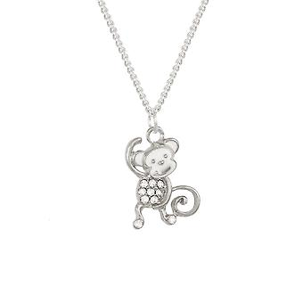 Eternal Collection Marty The Monkey Enamel And Crystal Silver Tone Pendant