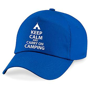 Keep Calm And Carry On Camping Baseball Cap