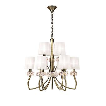Mantra M4630AB Loewe 2 Tier Pendant 6+3 Light E14, Antique Brass With White Shades
