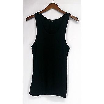 Agiato Top Basic U Neck Rayon Tank Solid Black Kobiety