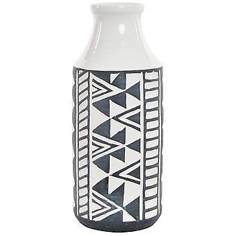 Wellindal 12,5x12,5x30,5 stoneware vase embossed white ikat (Decoration , Jars)