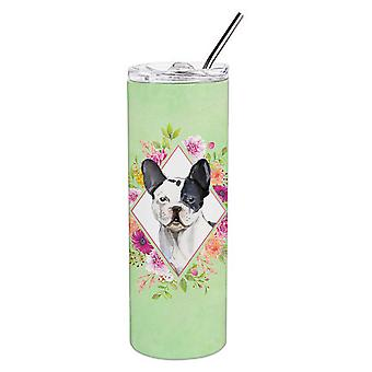 Black and White Frenchie Green Flowers Double Walled Stainless Steel 20 oz Skinn